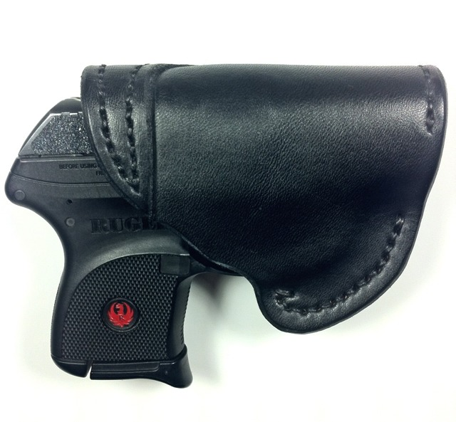 WTS Jim Crawford LCP Leather lined cross draw holster